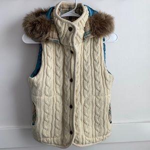 Charlotte Russe Cream Fur Hooded Vest